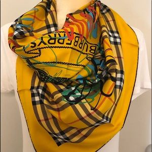 Burberry Yellow Check Scribble print Silk Scarf